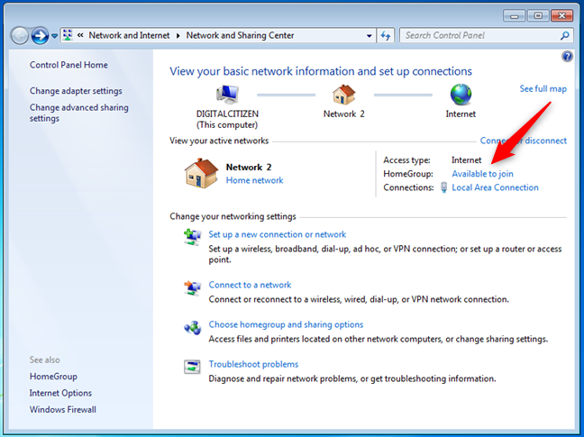 A Windows 7 Homegroup is available to join