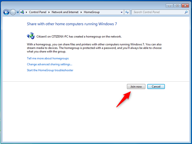 Choosing to join a Windows 7 Homegroup