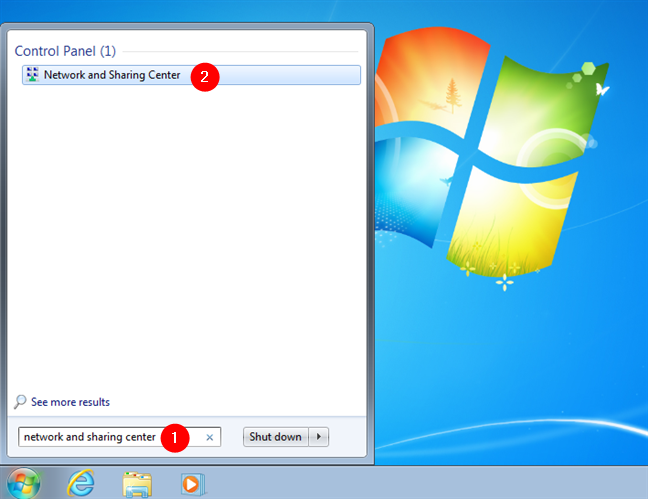 How to open Network and Sharing Center in Windows 7