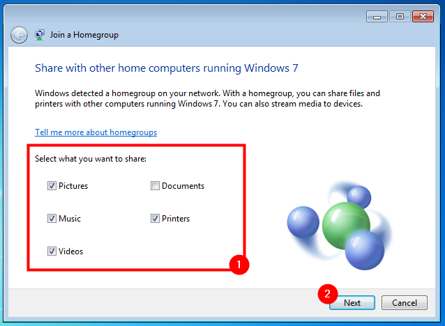 What to share on the Windows 7 Homegroup
