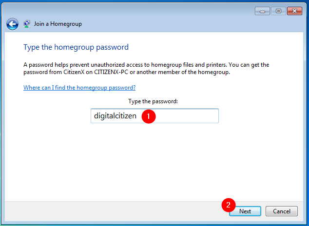Type the homegroup password
