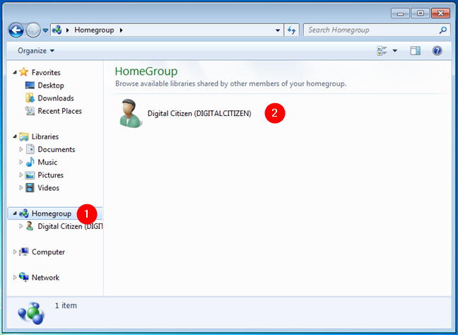 A Homegroup created on a home network
