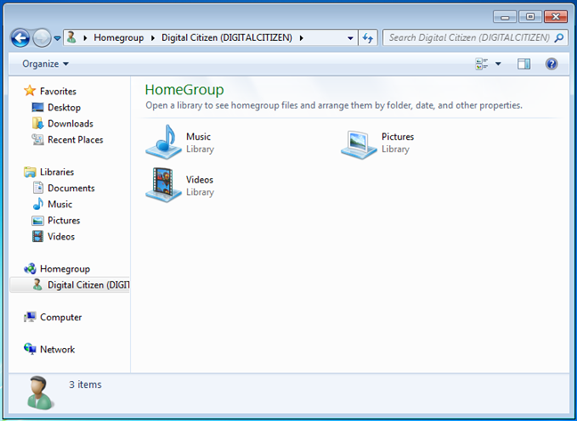 What a Windows 7 computer shared with the Homegroup