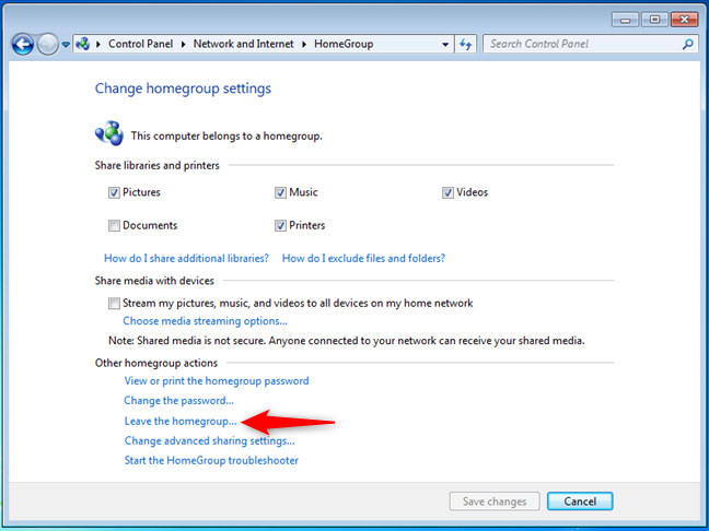Leaving a Windows 7 Homegroup