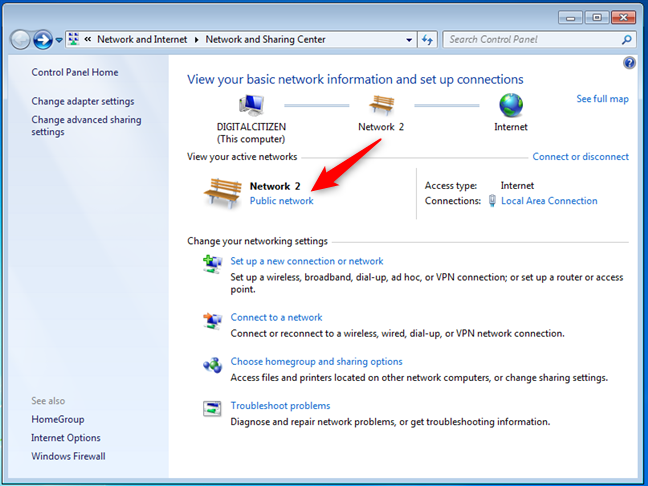 Setting the network location to Home in Windows 7