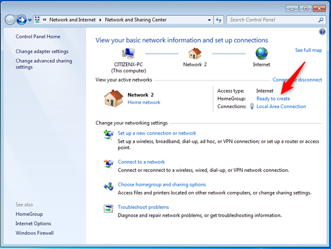 Windows 7 Homegroup: Ready to create
