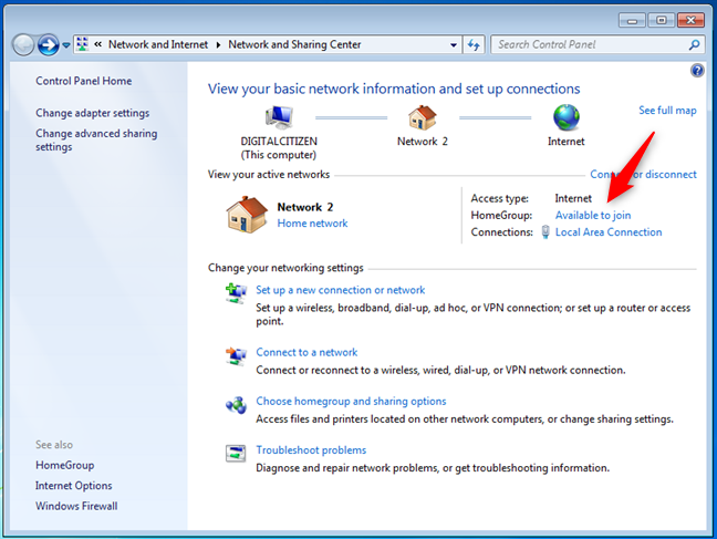 There is a Windows 7 Homegroup available, and you're ready to join it
