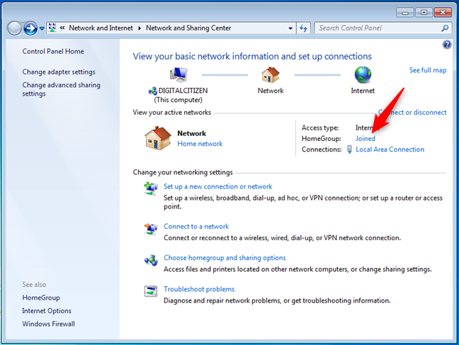 A Windows 7 computer that joined a Homegroup