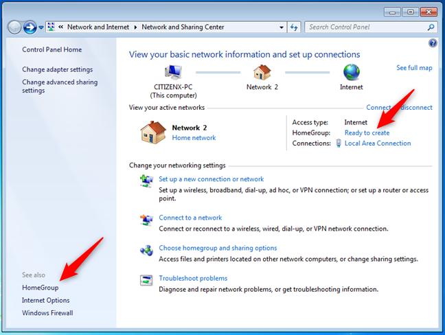 How to start creating a Homegroup in Windows 7