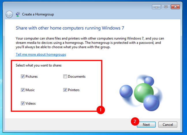 Choosing what to share on the Windows 7 Homegroup