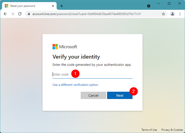 Typing a security code from your authenticator app