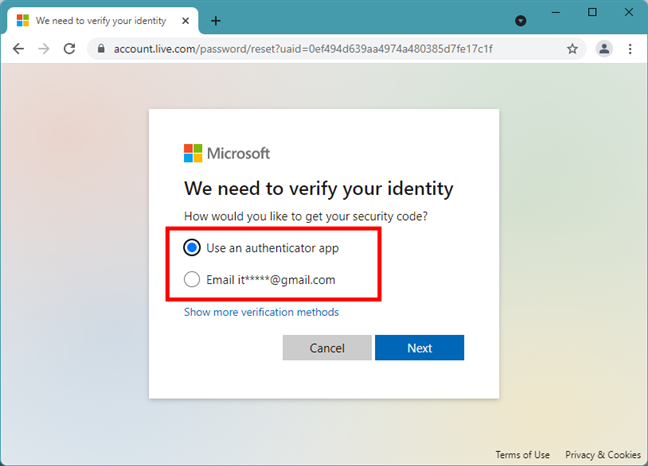 Email alternative for receiving the Microsoft security code