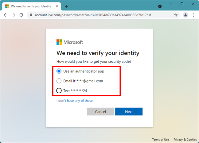 Alternative ways for getting the Microsoft password reset code