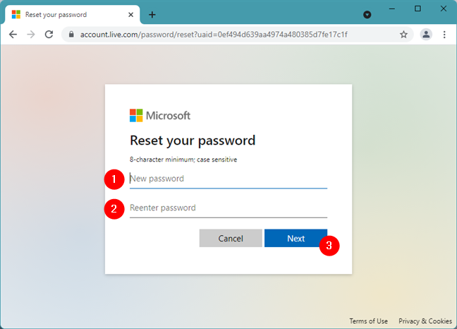 How to reset a Microsoft password