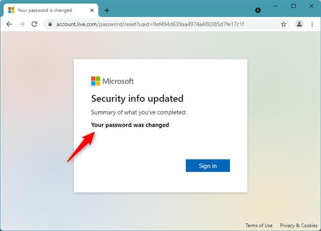 Microsoft password reset