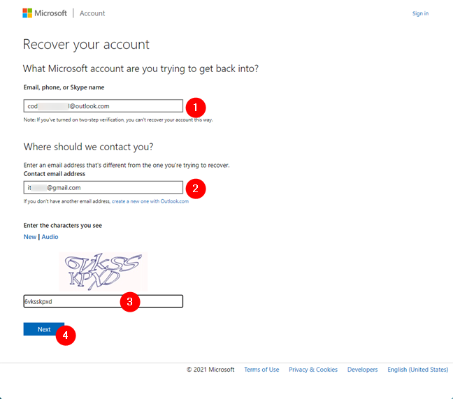 Details about your lost Microsoft account