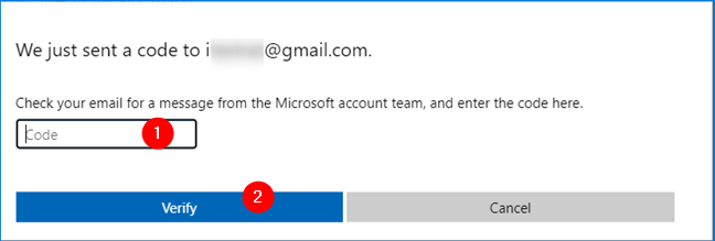 Verification code sent to the email address you chose