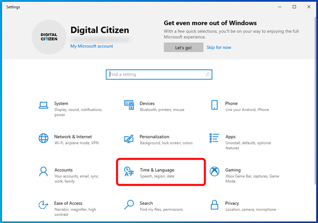 Go to Time & Language in Windows 10's Settings