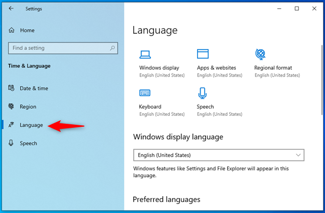 The Language page from Windows 10's Settings app