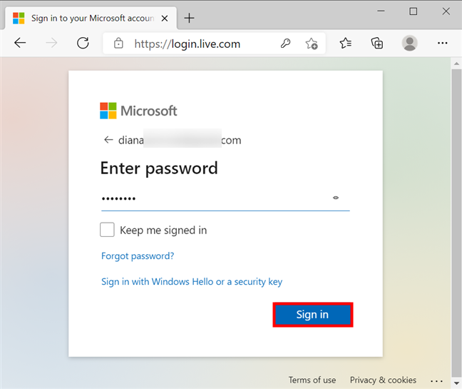 Insert the current Microsoft password