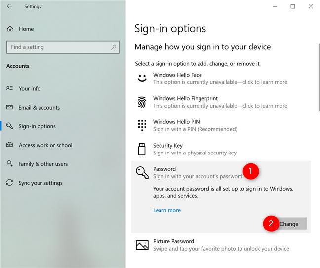 Press the Change button under Password