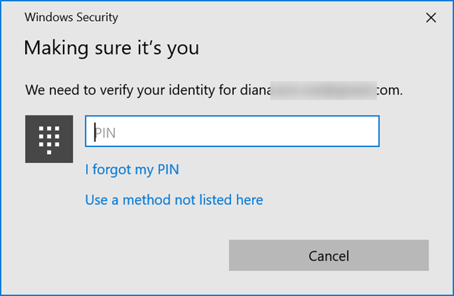 Use a PIN to verify your identity