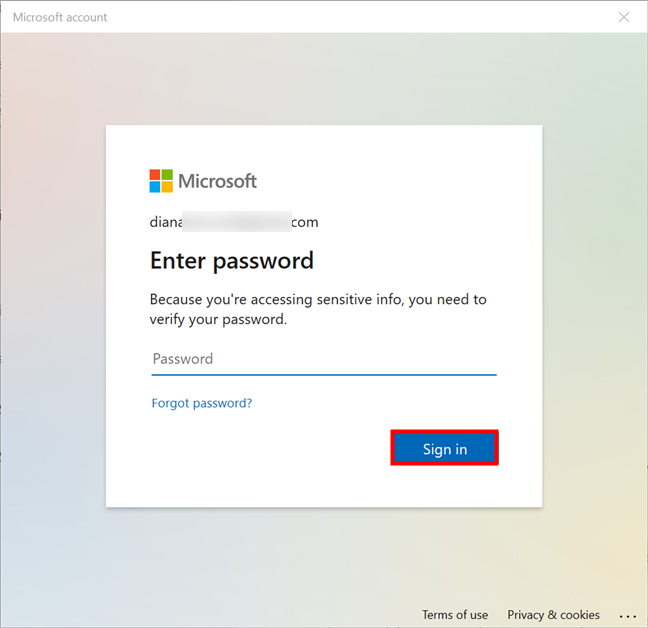 Enter your current Microsoft password to sign in