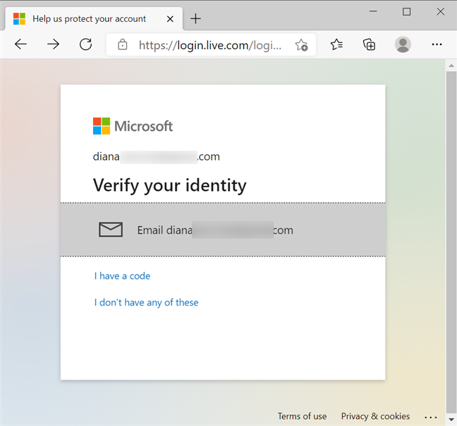 Verify your identity with an email