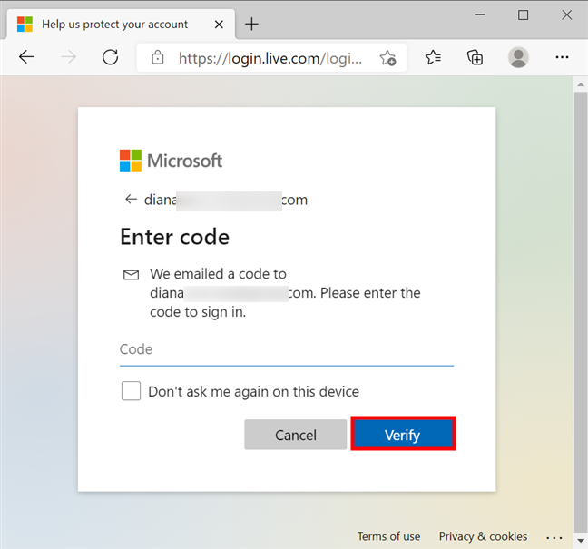 Verify your identity to change the Microsoft password