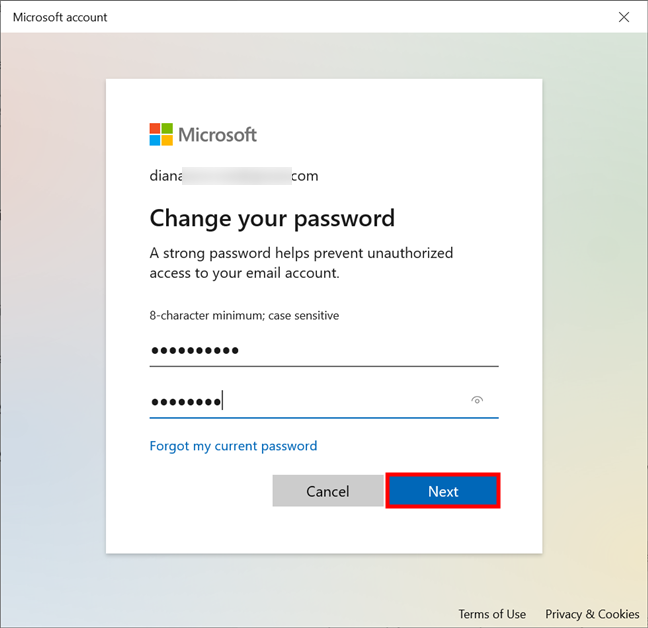 How to change your Microsoft account password from Windows 10