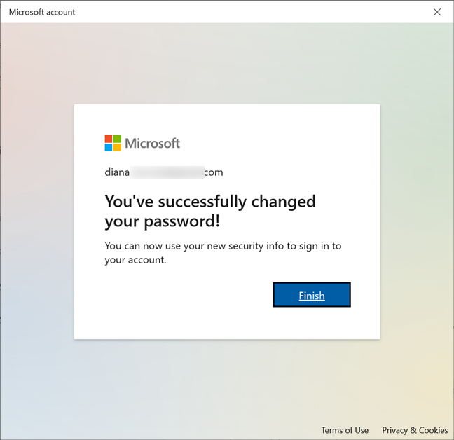 The password for your Microsoft account is changed