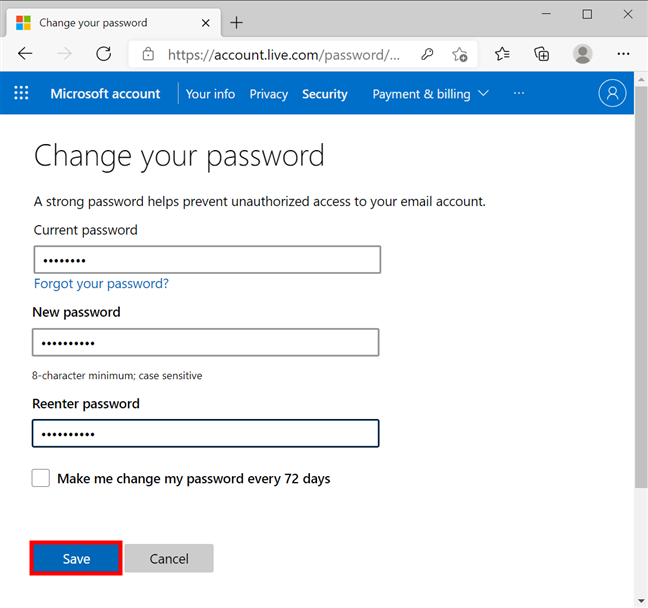 How to change your Microsoft account password from a browser