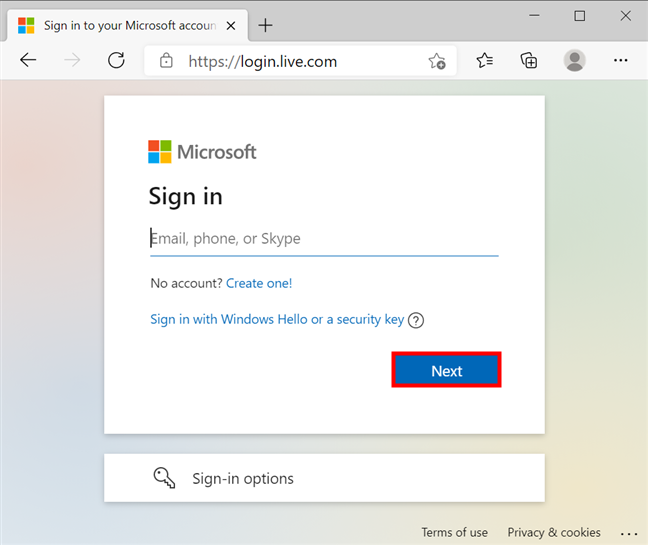 Insert the required info to sign into your Microsoft account