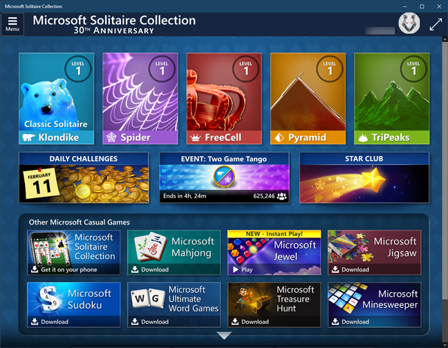 Solitaire & other Microsoft games are not bundled by default in Windows 10
