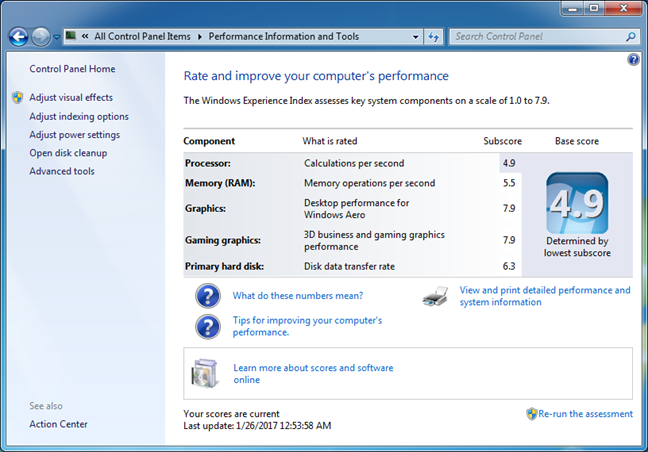 Feature no longer found in Windows 10: Windows Experience Index