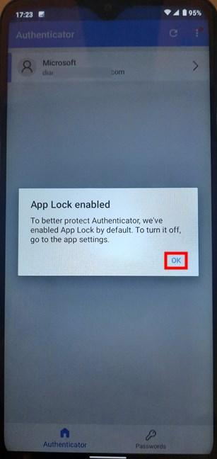 Tap OK to finish the Microsoft Authenticator setup
