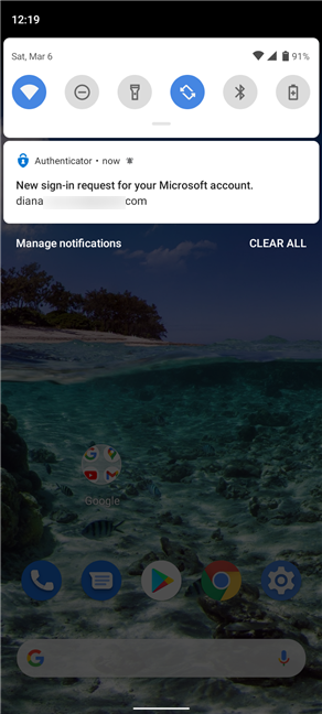 Press on the notification from Microsoft Authenticator to approve a sign in request