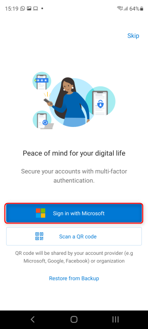 Press Add account to start the Microsoft Authenticator setup