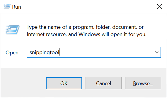 Launch the Windows 10 Snipping Tool using Run