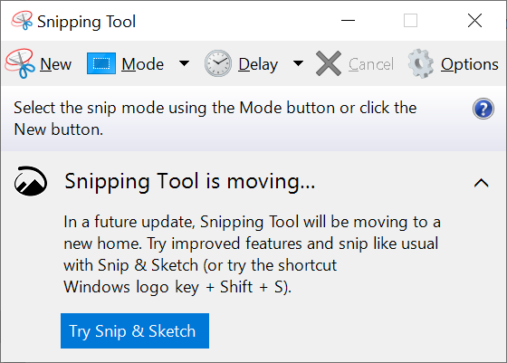 The Windows 10 Snipping Tool