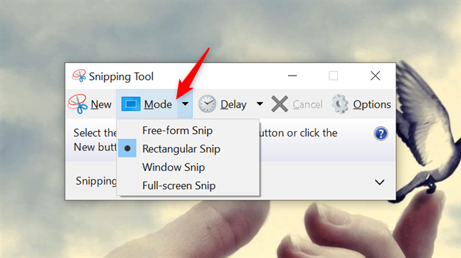 The Mode button from the Snipping Tool in Windows 10