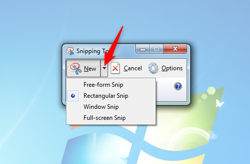 Select the type of screenshot in the Snipping Tool for Windows 7