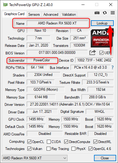 Look up information about your video card