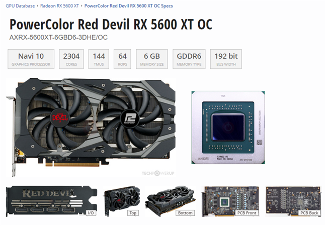 See the specific GPU model, and manufacturer