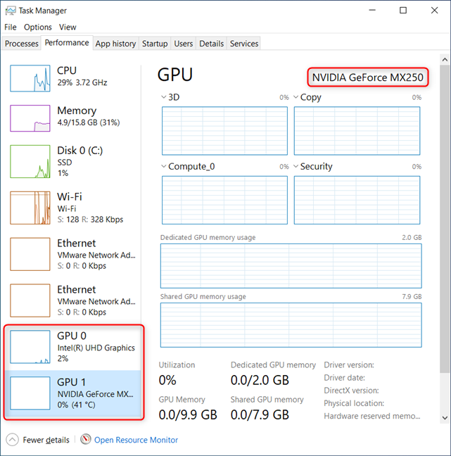 In Task Manager, go to Performance, and then to GPU