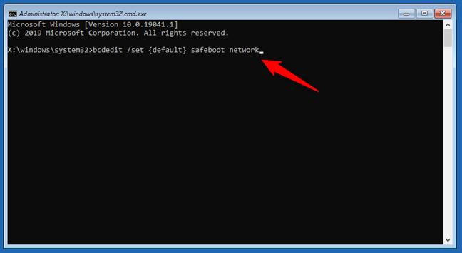 bcdedit /set {default} safeboot network
