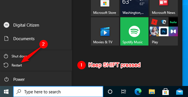Press Shift and select Restart to get to Windows 10's Safe Mode with Networking