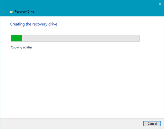 Creating a recovery drive in Windows 10