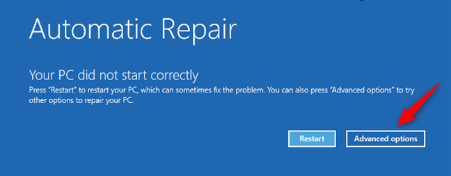 Advanced options on the Automatic repair screen