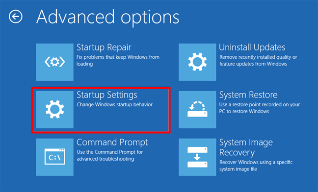 Enter Startup settings in Windows 10's recovery environment